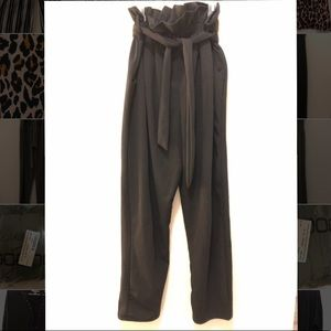 Olive green paper bag trouser with belt US size 6